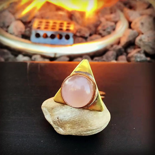 Rose Quartz Triangle Ring Size 8