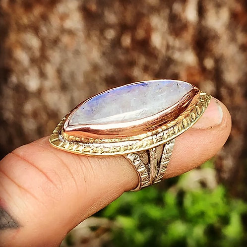 Moon Stone Brass and Silver Ring Size 6.5