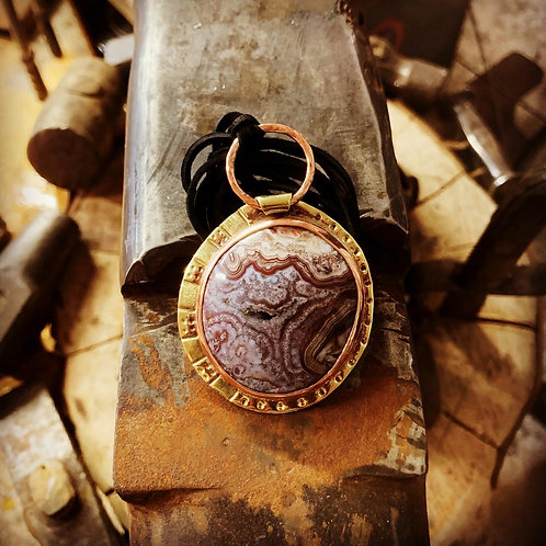 Lace Agate with Druzy Inclusion Pendant