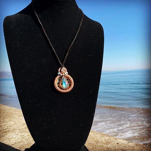 Labradorite and Herkimer Diamond Pendant