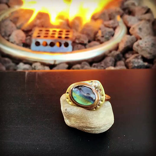 Labradorite Ring Copper and Brass Size 7