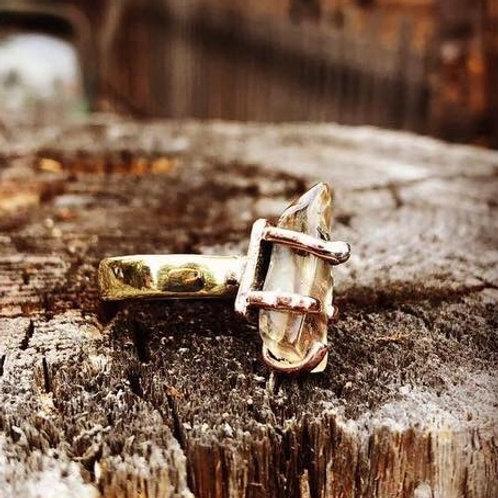 Copper Inclusion Oregon Sunstone Ring Size 11.5