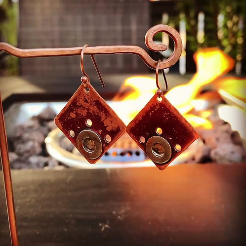 Upcycled Copper and Silver Earrings