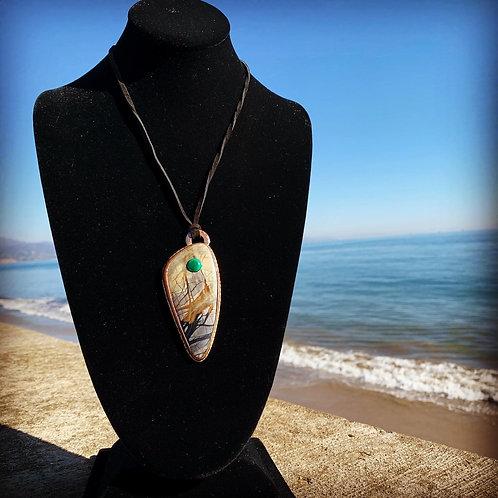 Oregon Picture Stone & Malachite Pendant
