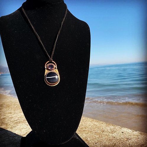 Black Banded Agate and Faceted Amethyst Pendant