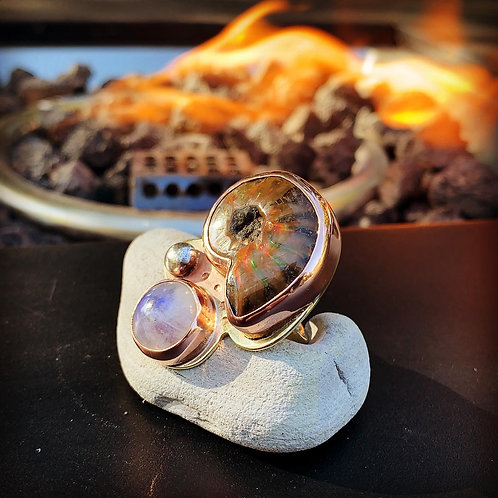 Ammonite Fossil and Moon Stone Ring Size 8