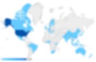 Google Analytics map of site visitors