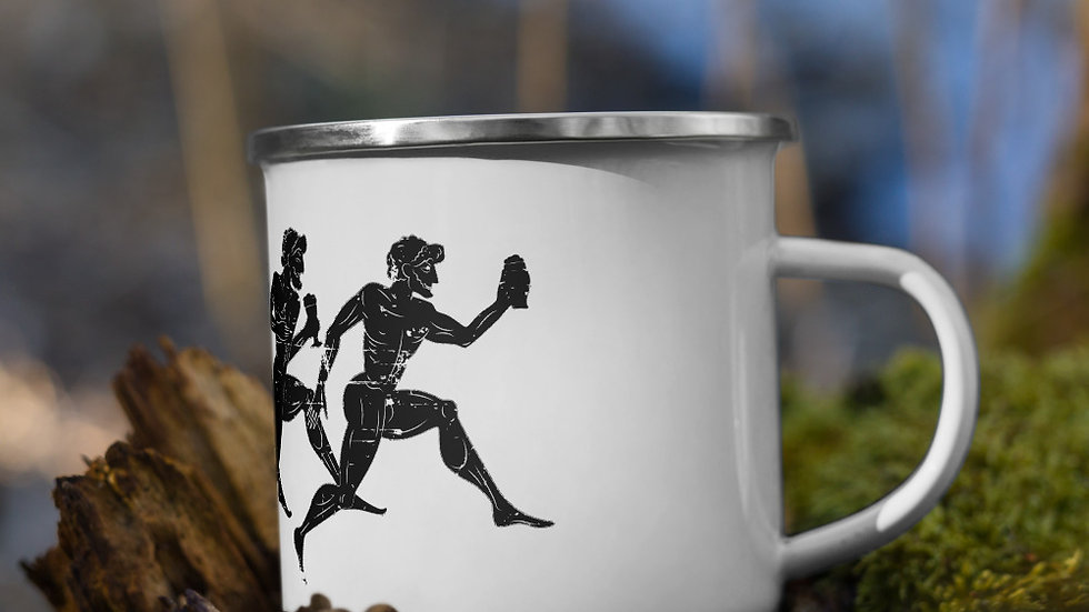 Greek Running Drinkers Enamel Mug