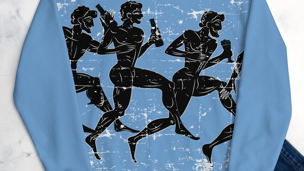 Light Blue Greek Running Drinkers Unisex Sweatshirt