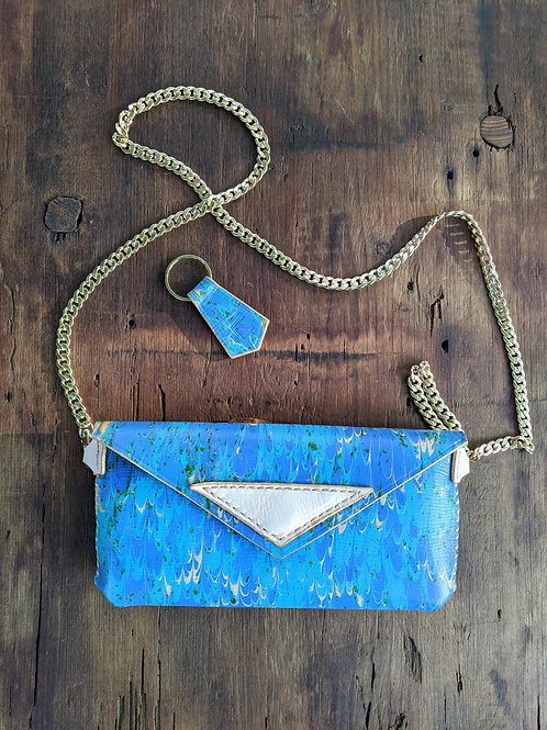 Evening Clutch, in marbled blue and bone