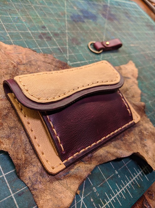 Card Pouch in Plum and Natural