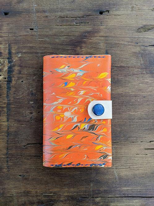 Passport/Notebook Wallet in marbled orange
