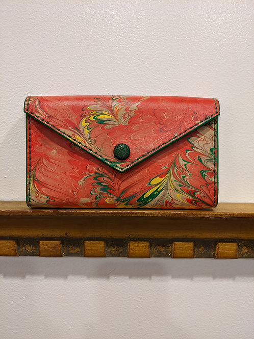 Red Marbled Clutch Wallet