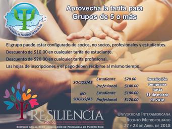SIMPOSIO Resiliencia | ¡Aprovecha la tarifa especial de grupo!