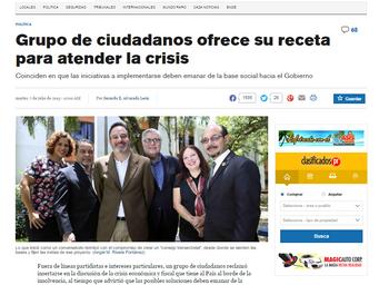 Grupo de ciudadanos(as) ofrece su receta para atender la crisis