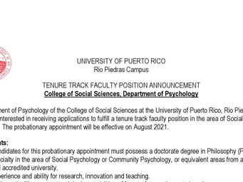 Faculty position in the area of Social Community Psychology