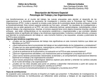 Convocatoria: Número especial de psicología del trabajo y las organizaciones