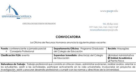 Convocatoria | Conferenciante a jornada parcial, consejería profesional