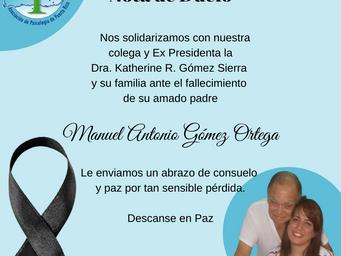Nota de Duelo | Manuel Antonio Gómez Ortega