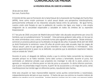 Comunicado de Prensa   La Violencia Sexual del Caso De La Manada