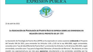 La APPR se expresa sobre las enmiendas en relación con el Proyecto de Ley 184