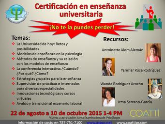 Certificación en Enseñanza Universitaria