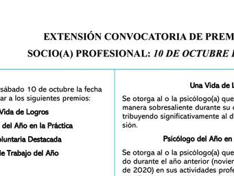 Extensión Convocatoria de Premios | Socio Profesional