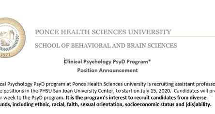 Position Announcement | Clinical Psychology PsyD Program*