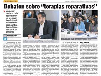 """En Prensa: Debaten sobre """"terapias reparativas""""."""