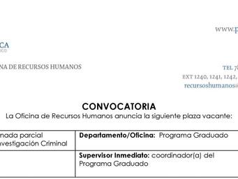 Convocatoria | Conferenciante en Criminología y/o Investigación Criminal | Recinto de Mayagüez