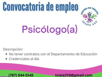 Convocatoria de empleo: Psicólogo/a