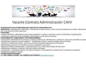 Convocatoria de contratos servicios profesionales CAVV