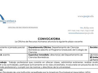 Convocatoria | Conferenciante en Psicología | Recinto de Ponce