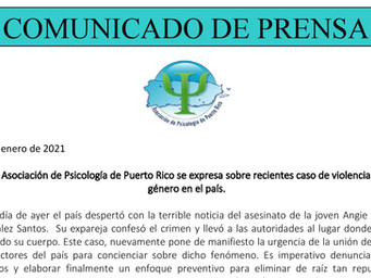Nos expresamos sobre recientes caso de violencia de género en Puerto Rico