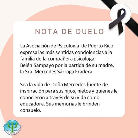 Nota de Duelo | Mercedes Sárraga Fradera