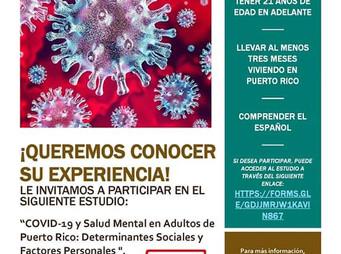 Investigación   COVID-19 y Salud Mental en Adultos de Puerto Rico