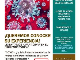 Investigación | COVID-19 y Salud Mental en Adultos de Puerto Rico