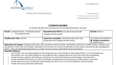 Convocatoria | Conferenciante en Psicología Escolar