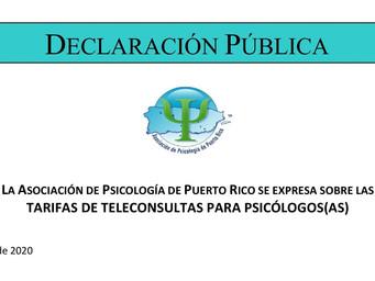 Tarifas de teleconsultas para psicólogos/as en Puerto Rico