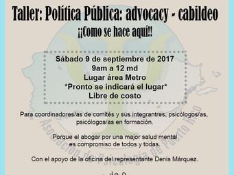 Taller Política Pública: Advocacy-cabildeo ¡Como se hace aquí!