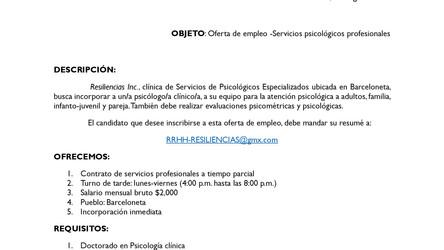 Psicólogo/a Clínico: Oferta de empleo a tiempo parcial