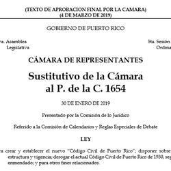 ¿Quieres leer el Borrador del Código Civil: P de la C 1654?