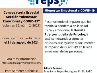 """Convocatoria Especial """"Bienestar Emocional y COVID-19"""""""