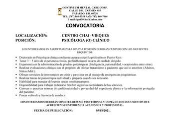 Centro Chai Vieques solicita Psicólogo/a Clínico