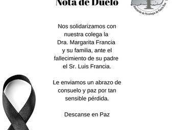 Nota de Duelo | Sr. Luis Francia