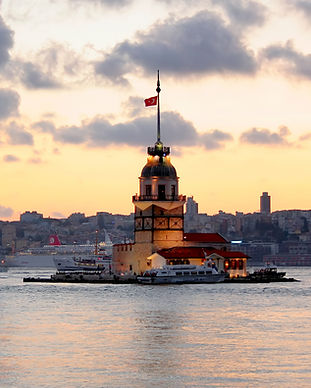 The Maiden Tower as seen from the Bosphorus.