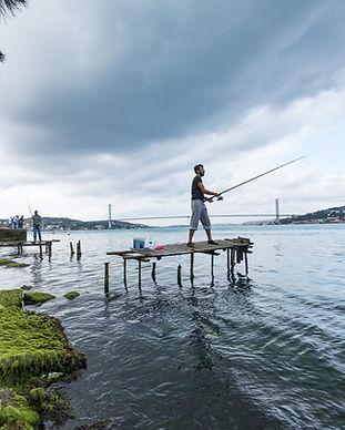 Man fishing at the Bosphorus.