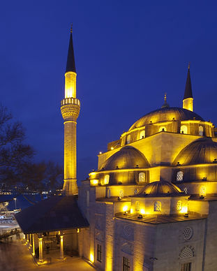 Mihriman Sultan Mosque viewed at night time.