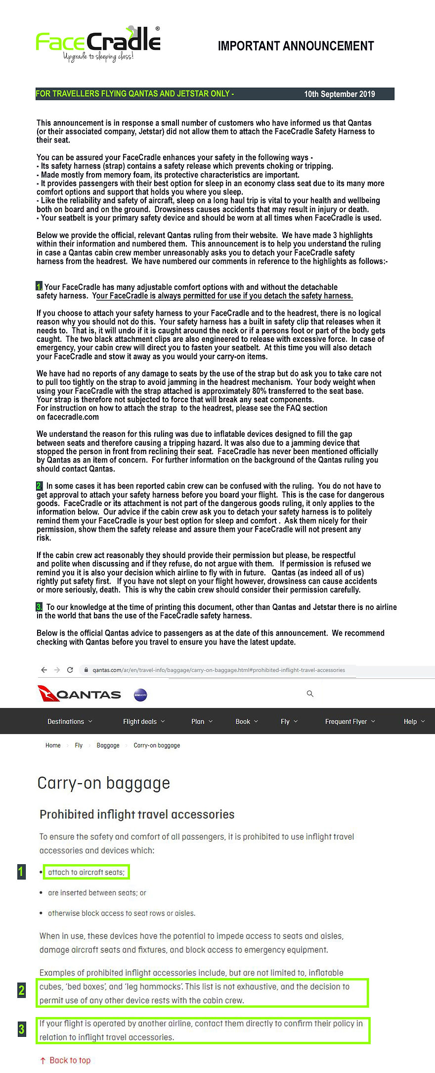 Qantas Website Information - Prohibited