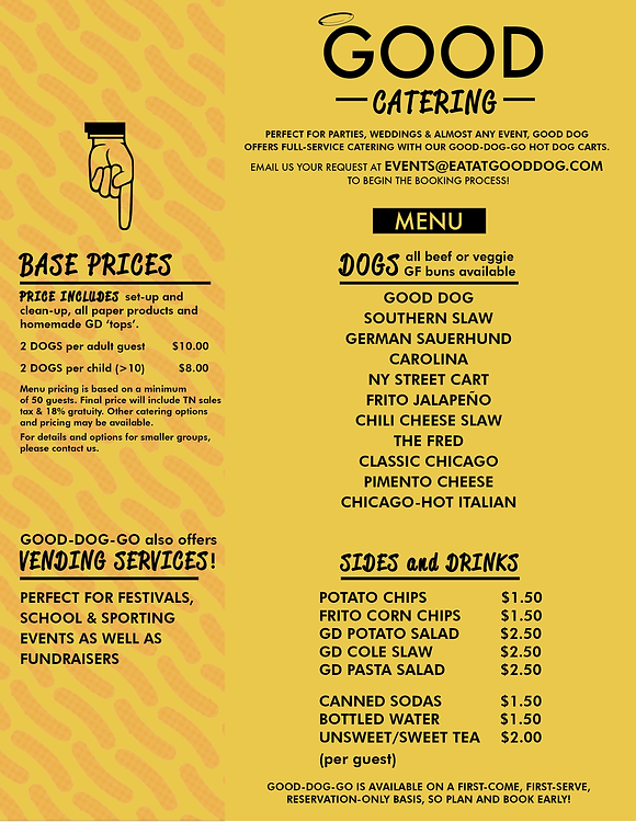 Good Dog Catering Menu and Prices